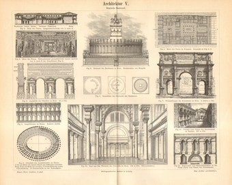 1893 Ancient Roman Architecture Antique Engraving to Frame