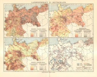 1909 Original Antique Map of Agriculture in Germany