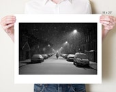 London photograph, snowy black and white photography, Hackney winter street scene fine art photo. London artwork decor. Small / large format