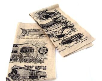 Vintage Tea Towels Rustic Farmhouse Kitchen Linen Towel NOS Pair New England Covered Bridges 1960s