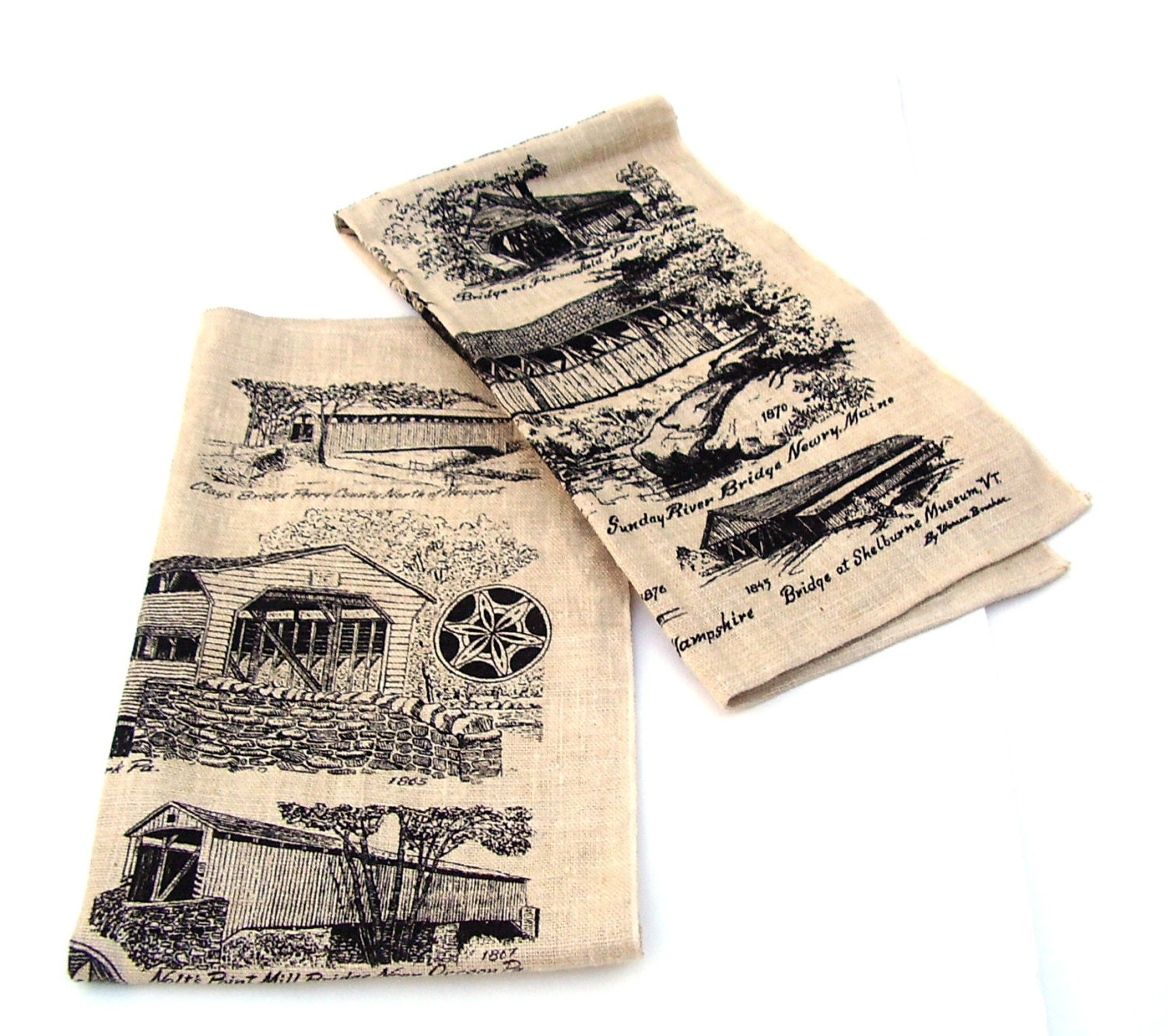 Vintage Tea Towels Rustic Farmhouse Kitchen By OceansideCastle