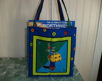 Toddler Tote Bag, Robot Print, Fully lined, Ready to Ship