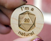 D20 engraved wood lapel pin