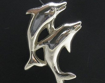 PE000658 Sterling silver pendant   solid 925 Two dolphins