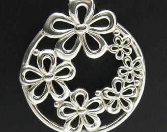 PE000099 Sterling silver pendant  925 Huge Flower Quality