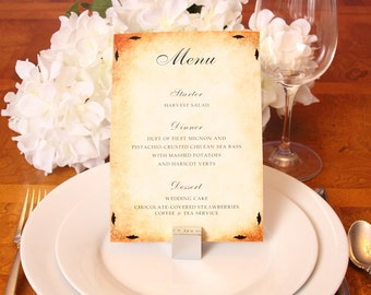 Vintage Paper Reception Menu 50qty, Dinner Wedding Menu, Personalized Wedding Table Setting Custom Designed Wedding Paper Goods