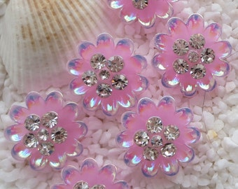 Resin Rhinestone Flower Cabochon - 17mm - 6 pcs - Pink