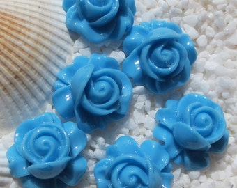 Resin Rose Swirl Cabochon - 16mm - 12 pcs - Blue
