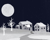 NIght Village Art Print | Moonlit Village Painting | Jennifer Shear | 5x7 | 8x10 | 11x14