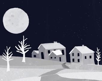 NIght Village Art Print | Moonlit Village Painting | Jennifer Shear | 5x7 | 8x10 | 11x14