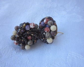 1950s Chunky Beaded Earrings, Brown and Lavender, Pierced Retro Studs