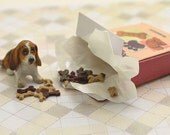 Miniature OOAK hand carved wood tiny Basset hound puppy in a little biscuit box  dog breed pet  by IGMA Fellow Linda Master Miracle Chicken
