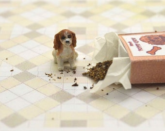 Miniature OOAK hand carved wood tiny Spaniel puppy in a little puppy chow box dog breed pet  by IGMA Fellow Linda Master Miracle Chicken