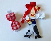 Jesse from disney Toy Story inspired ribbon sculpture hair clip