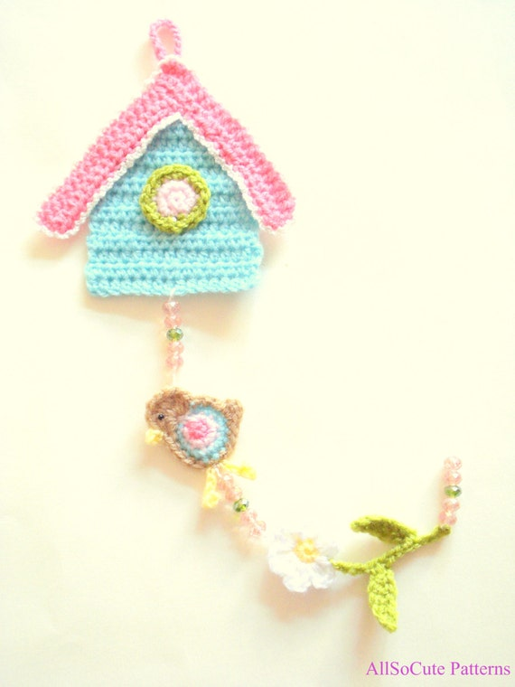 Crochet Birdhouse Garland - DIY - PDF Pattern - Wall Hanging ...