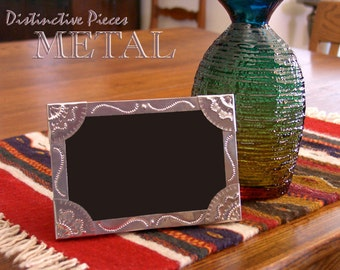 """Metal Picture Frame - Small Scrolls - New Mexican Handpunched Tinwork Style, 4 x 6"""" Handmade Photo Frame, Southwest Home Decor, FM0406-J"""