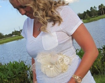 Soft Ivory & Neutrals Rosette Wedding or Maternity Sash Vintage-inspired w/ Handrolled Fabric Rosettes and Feathers