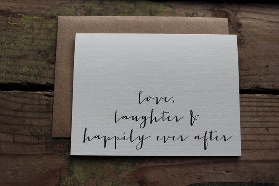 Wedding Thank You Cards with Envelopes / Love, Laughter and Happily Ever After / Set of 10