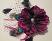 Burgundy Bridal Hair Clip Fascinator, Purple-Maroon Flower Hair Clip, Peacock Feather Hair Clip, Wedding Hair Clip Feather Fascinator