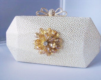 SALE Light Gold Fabric Wedding Bag Clutch Formal Evening Bag with Crystal Flower Accent