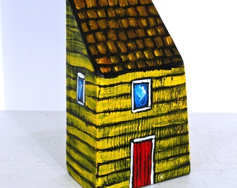 Miniature House Painted Yellow Folk Art on Reclaimed Wood Block