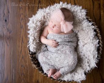 Newborn Pink Mohair Headwrap Prop Headband, Mohair Silk Knit Bow Headwrap Newborn Photo Prop, Custom Order, Newborn to Small Baby Size