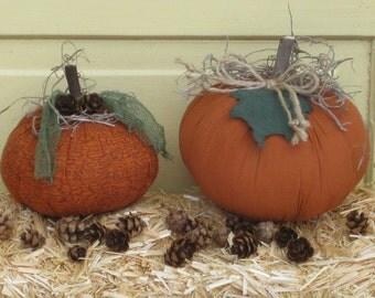 Primitive Fabric Pumpkin Tucks - Set of 2 - Fall Centerpiece - Shelf Sitters - Autumn Table Decor