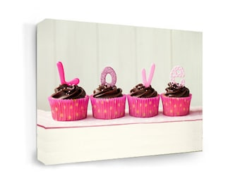 Framed canvas print Love cupcakes Wall art signs digital plaque