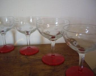 Vintage Etched Coupe  Champagne Sherbert Glasses // Red enamel stem // Retro Glasses