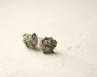 Rough Peruvian Pyrite 14k Gold Fill Prong Set Earrings