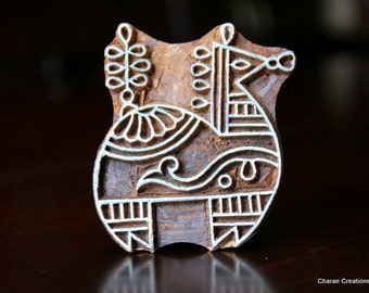 Hand Carved Indian Wood Textile Stamp Block- Stylized Horse