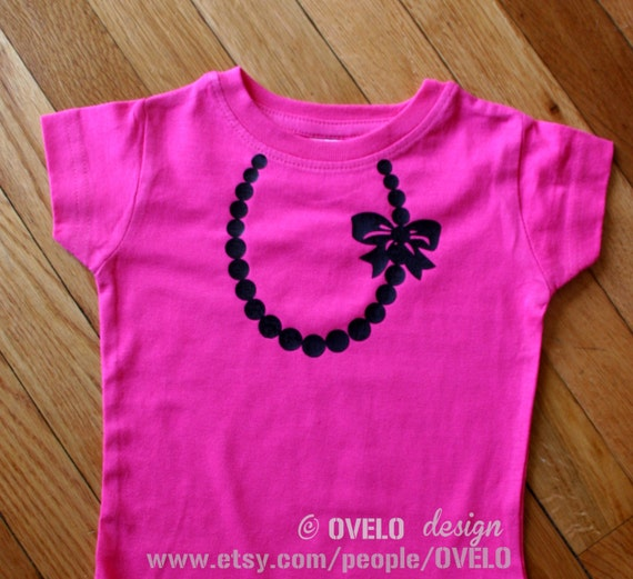 Necklace with Pearls and Bow T-shirt for Girls Pictured in Hot Pink with Black Necklace