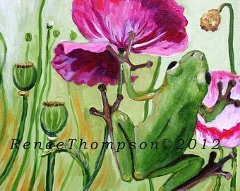 "Tree Frog & Poppies 11"" by 11"" PRINT - art frog painting, frog art, wildlife art, tree frog, poppies art,"