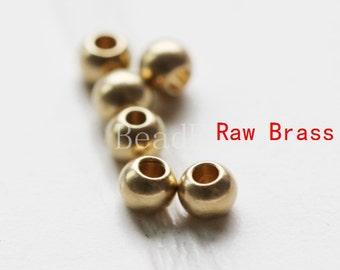 100pcs / Ball / Spacer / Raw Brass / 3mm (C1695//P277)