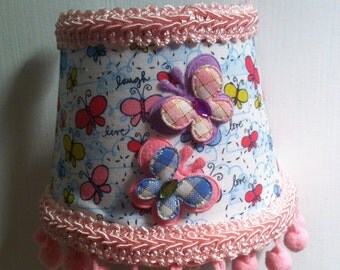 Butterfly NIght Light with Pink Pom Poms