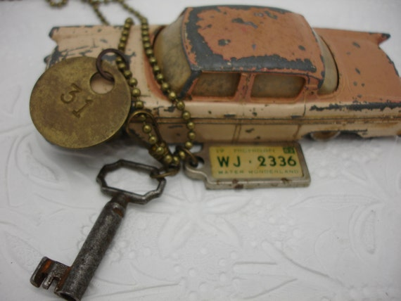 Key Necklace Vintage Charm Necklace Vintage Necklace Key Tag License Necklace