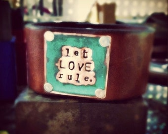 Let Love Rule - Custom Carved Copper/Leather Cuff