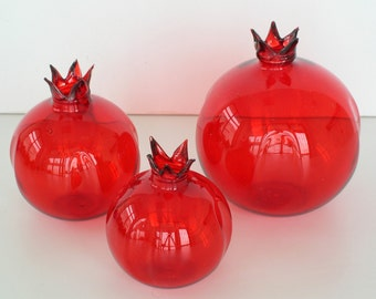 Glass Red Pomegranate Set of 3