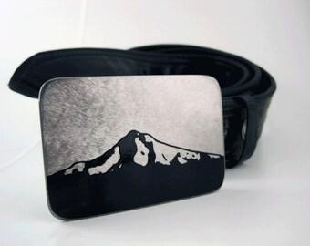 Mt. Hood Belt Buckle - Stainless Steel - Handmade