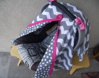 Carseat Canopy / car seat canopy / car seat cover / carseat cover / nursing cover / infant car seat Chevron with Hot Pink REVERSIBLE Girl
