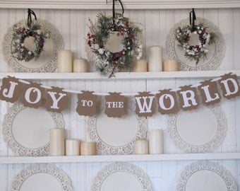 JOY to the WORLD Christmas Banner, Farmhouse Christmas, Christmas Sign, Religious Christmas, Christmas Decoration, Christmas Photo Card