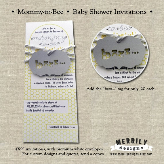 mommy to bee bee themed baby shower invitations