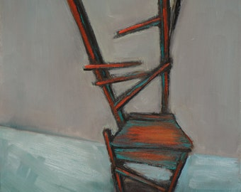 Original Oil Painting - Still life -Chair - Expressive Still life - Red and Green Chair - 8x10 inches