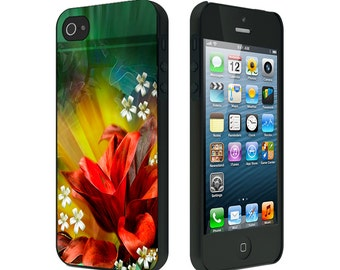 iPhone 4/4S case, iPhone 5 Case, iPhone 6, Black or White, Abstract Red Flower