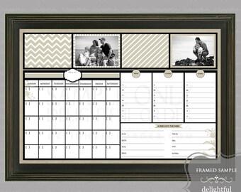 Digital Dry Erase Calendar - 20x30 Tan Design Everyday Message Center (JPEG Digital File) - Instant Download - You Print - You Frame
