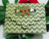 Holiday Gift Card Holder, Christmas , Gingerbread Man, White, Green Chevron,  Gold Stars,  Made By Maggie P