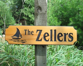 "Personalized Cabin Signs - Cabin Signs - Routed Wooden Signs - Wooden Cabin Signs - Campsite Signs - Cedar Signs - 22"" x 6"""