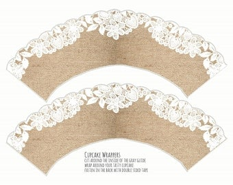 Printable Cupcake Wrapper - Burlap and Lace Cupcake Wrapper -  Scalloped Edge - Digital Download - Wedding, Bridal or Baby Shower