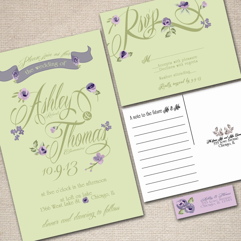 purple green wedding invitation kits - 28 images - items similar to ...