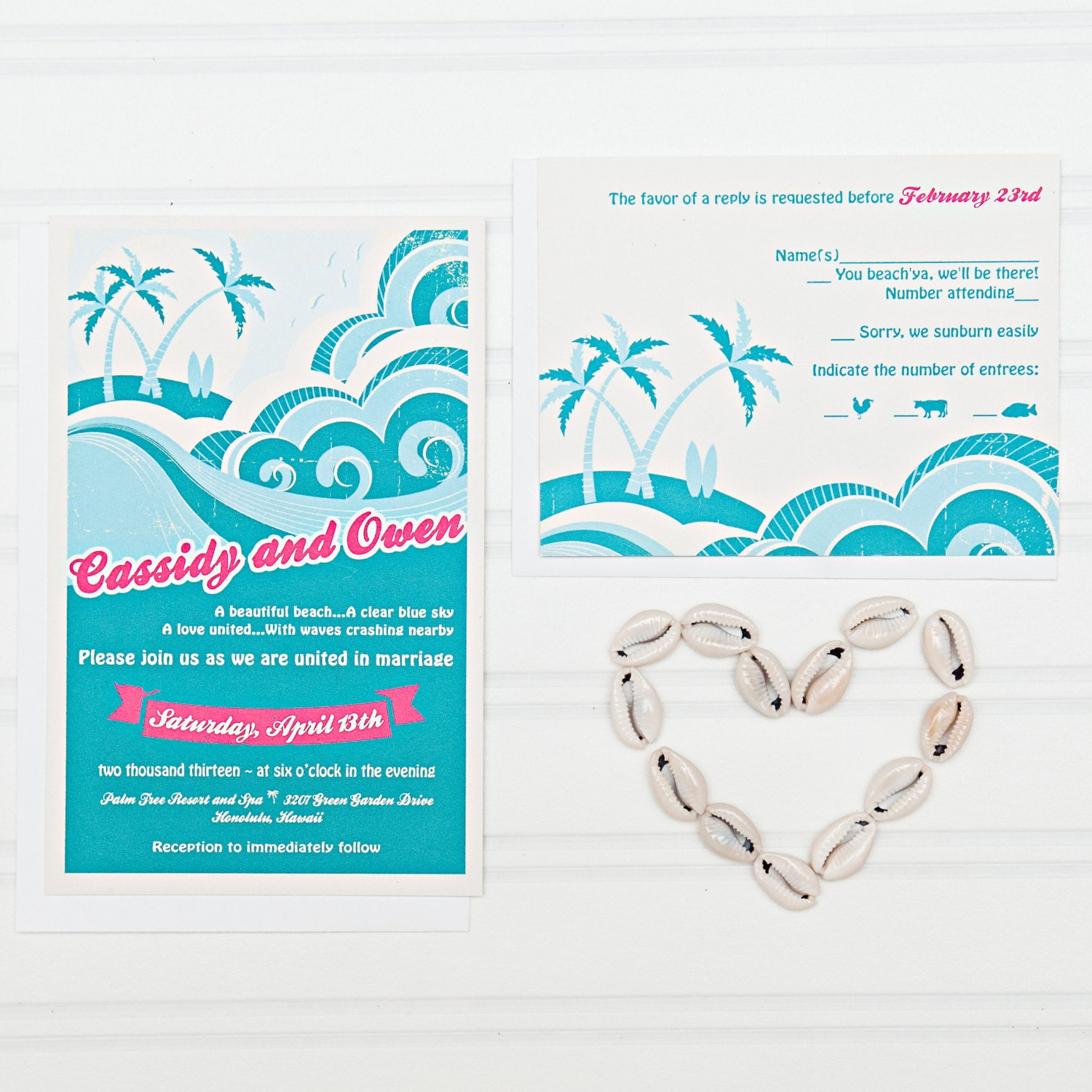 Beach Wedding Invitation Suite With RSVP Postcards And Address
